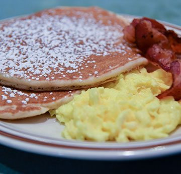 Pancakes, Scrambled Eggs, and Bacon
